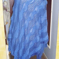 SALE Electric Lady Blue Sweater Poncho with Fringe womans clothing