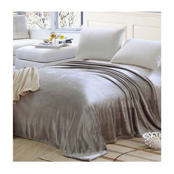 Plush Soft Queen Soild Color Micro fleece Bed Throw Blanket 200cm Gray