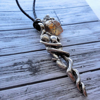 Lovers Entwined Pewter Wiccan Necklace With Citrine And Quartz Crystals on Adjustable Black Satin Cord / Wiccan , Pagan Pewter Necklace
