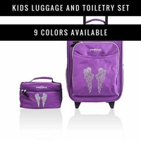 Obersee Kids Luggage 2 Piece Set | Child Carry-on Upright Rolling Suitcase | Kids Toiletry Case