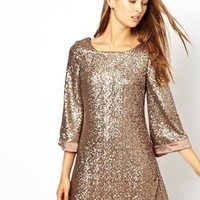 Jarlo Sequin Tunic Dress With Flute Sleeves