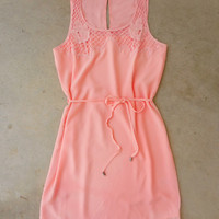 Crochet Trim Peach Dress [6922] - $36.00 : Feminine, Bohemian, & Vintage Inspired Clothing at Affordable Prices, deloom