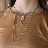 Gypsy Habit Antique Gold Layered Feather Mosaic Necklace