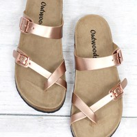 Toe Strap Bork Slide On Sandals Metallic Leather Look {Rose Gold}
