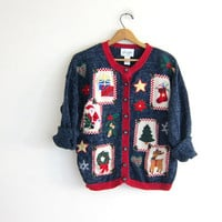 vintage ugly Christmas sweater cardigan // tacky christmas sweater // holiday party sweater in blue with snowman / size L