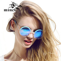 Mincl/  New Summer Fashion Sunglasses Women Eyewear Brand Designer glasses Multi color points Sun glasses woman Round shades Hot