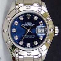 Rolex Lady Datejust Pearlmaster White Gold Navy Blue Diamond 80319 - WATCH CHEST