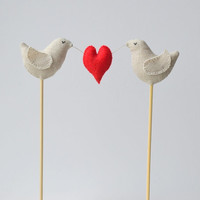 Love Birds Wedding Cake Toppers, Linen Birds Cake Toppers, Wedding Love Birds Cake Topper, Love Birds with Heart