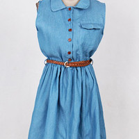 Light Blue Button Up Denim Dress with Belt