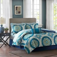 Olivia Boho Medallion 9PC Comforter Sheets SET