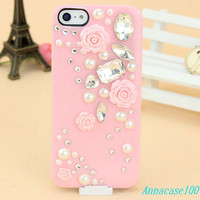 Light pink floral bling iphone5 case rose iphone case, i phone 4 4s 5 case, iphone4 iphone4s iphone5 case,cute crystal case unique