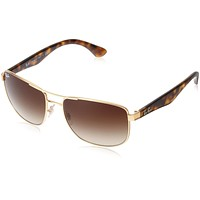 Ray-Ban STEEL MAN SUNGLASS - GOLD Frame BROWN GRADIENT Lenses 57mm Non-Polarized