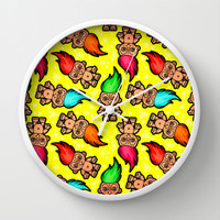 Troll Doll Pattern Wall Clock by chobopop