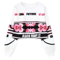 """Fashion """"FUTURE""""letters rose print crop top long sleeve sweater for women top"""