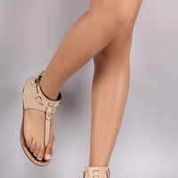 Qupid Snake T-Strap Ankle Cuff Thong Flat Sandal