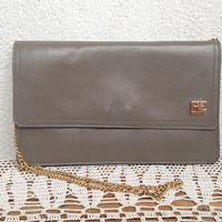 Grey Leather Bag by PE Florence, Clutch Wallet With Gold Chain Strap, Genuine Leather Envelope Clutch, Vintage Evening Bag, Shoulder Purse
