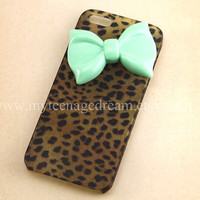 iphone 5 case, leopard case for iPhone 5, cheetah iphone 5 hard case, mint green bow iPhone 5 case