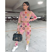 Louis Vuitton LV Popular Women Hoodie Long Sleeve High Waist Top Pants Two-Piece
