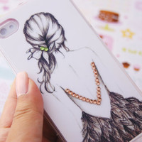 Black and White Elegant Girl In Feather Dress with Rhinestones Print Iphone 4 4s Cell Phone Case