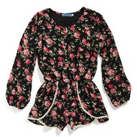 Girl's Truly Me Floral Long Sleeve Romper,