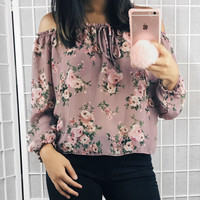 Syd Floral Off The Shoulder Top (Mauve)