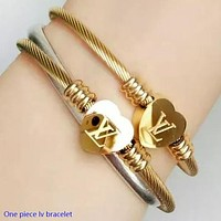 LV Louis Vuitton Fashion New Love Heart Bracelet Women Titanium Bracelet Jewelry