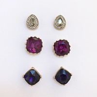 Gatsby Grape Crystal Stud Earrings Set