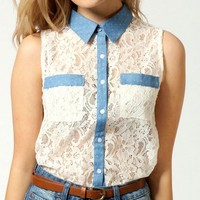 Shelly Sleeveless Lace Polka Dot Chambray Shirt