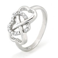 Sz 7 Sterling Silver Cubic Zirconia Infinity & Heart Symbol CZ Wedding Band Ring