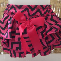 Black and Pink Chevron Satin Diaper Cover for Baby Girl
