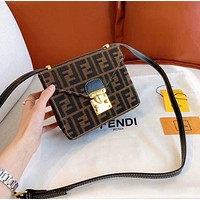 FENDI Women Fashion Leather Crossbody Shoulder Bag