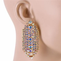"2.50"" gold ab crystal dangle pierced earrings prom bridal"