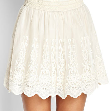 Embroidered A-Line Skirt