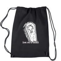 Love Me To Death Coffin Drawstring Backpack