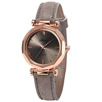 Fashion Women Leather Casual Watch Luxury Analog Quartz Crystal Wristwatch Fashion Casual Female Wristwatch
