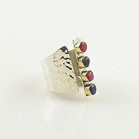 Ruby & Sapphire Sterling Silver Adjustable Cuff Ring