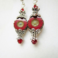 Red Picasso Style Etched Czech Glass Flowers & Red Crystal, Silver Victorian Style Drop Earrings, Gift Box