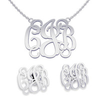 Necklace and Earring sets Silver Monogrammed Necklace Monogram Name Jewelry, gifts for bridesmaids
