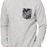 Dravus Variant Grey Crew Neck Pocket Sweatshirt