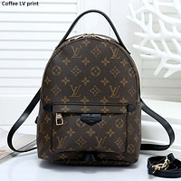 LV tide brand men and women simple chessboard backpack travel backpack coffee lv print