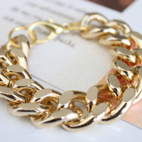 Chunky Gold Curb Chain Bracelet