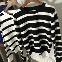 Striped Long Sleeves Ribbed Hem Sweater