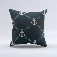 Blue & Teal Vintage Solid Color Anchor Linked Ink-Fuzed Decorative Throw Pillow