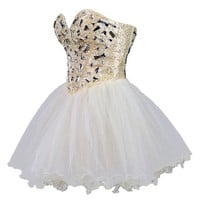 Faironly Zxs1 Mini Short Crystal Prom Cocktail Dress (XS, Light Champagne)
