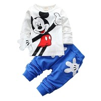 2019 Fashion Brand Autumn Children Boy Girl Clothing Sets Baby Cotton Cute Mouse T-shirt Pants 2pcs Clothes Toddler Tracksuit