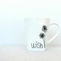 """Wish Mug - Black Hand Painted """"Wish"""" with Dandelions on a White Coffee Cup with a Square Base"""