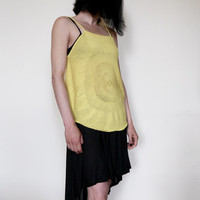 Hand Knit Top Tank Knitted Top Tank Yellow Top Tank Circle Top Tank Loose Fit  Top Tank Summer Beach Clothing Womens Fashion Knitwear