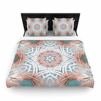 """Alison Coxon """"Tribe Coral And Teal """" Blue White Woven Duvet Cover"""