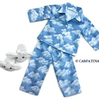 """Clouds Pajamas with Bunny Slippers ~ Fits 18"""" American Girl Dolls"""