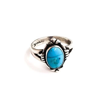Bell Trading Post Turquois vintage Native American Artisan sterling silver ring size 6